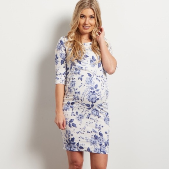 5757cada55f PinkBlush Blue Ivory Floral Fitted Maternity Dress